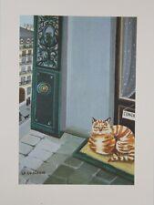 """""""Le chat et la concierge"""" Lithographie de Mady de La GIRAUDIERE"""