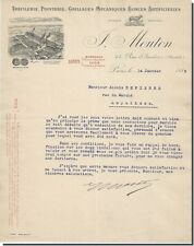 Lettre - F-MOUTON Tréfilerie Grillages Mécaniques Paris 1899
