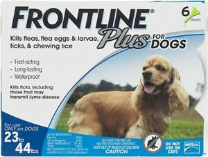FRONTLINE Plus 6-PK FOR DOGS 23-44 LB*FREE SHIP*USA/EPA APPROVED*100% AUTHENTIC