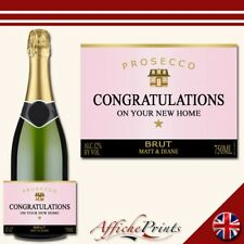 Personalised Prosecco Label Rose New Home House Brut Bottle Sticker Present Gift