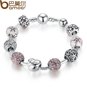 BAMOER Refinement LOVE DIY European Silver Charms Bracelets With CZ For Women