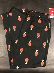 """GAP Mens Black """"Peanuts"""" Snoopy flannel sleep pants w/ pockets Sz L NWT"""