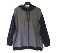 Reebok Sport Mens Size 2XL Grey & Black Fleece Full Zip Hoodie Sweatshirt New