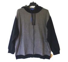 Reebok Sport Hoodie Sweatshirt Mens Size 2XL Grey & Black Fleece Full Zip New