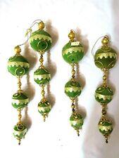 (4)Vtg Japan Felted Glass 3 Balls Green&Gold Christmas Ornaments Rare-As Is-Ot