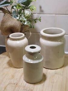 3 Old off white stoneware Bottles Job Lot antique vintage Victorian display