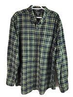 Eddie Bauer Cotton Flannel Shirt Mens XXL 2XL Green Blue Check LS Button Up Euc