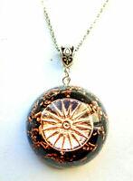 Orgone Orgonite pendant Mandala Sole Rose Gold, Shungite, Lapis Lazuli, unisex