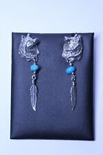 Native Americans Style Wolf Drop Earrings (Sterling Silver 925 & Turquoise)