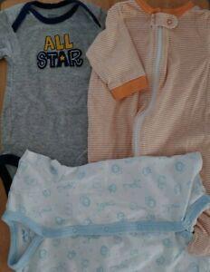 Gerber onesie Newborn & 3-9 months, Little Me 3m. blue, orange, All Star, gray