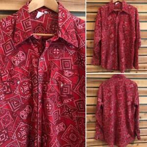 VTG Rockmount Handkerchief Print Pearl Snap Western Rockabilly L/S Shirt L/XL