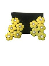 Vintage Yellow Plastic Rhinestone Clip Earrings