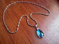 Sword Art Online Heart of Yui Blue Crystal Necklace Anime Cosplay