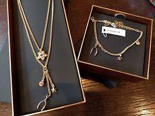 COACH Chain Necklace + Bracelet Set GOLD Wishbone/Flower/Star + Box MSRP $230