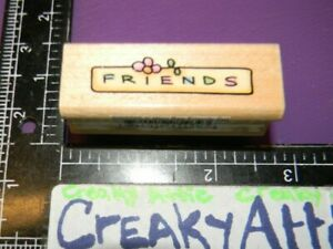 FRIENDS PLATE TAG FRAMED SMALL RUBBER STAMP STAMPENDOUS SWS005K CREAKATTIC