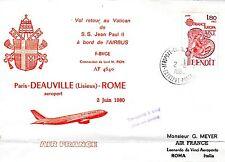 B0346-  VOL  AIRBUS A300 AIR FRANCE RETOUR VATICAN JEAN PAUL II LISIEUX 2/06/80