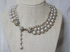 Miriam Haskell Champagne Baroque Pearl Necklace 3 Strand Graduated Flower Clasp