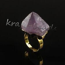 Natural Amethyst Quartz Durzy Crystals Stone Adjustable Quartz Reiki Finger Ring