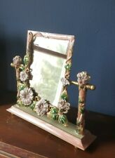 BEAUTIFUL Art Nouveau Iron Painted Enamel Rose Floral Vanity Mirror