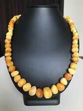 Vintage marble Baltic Amber stone necklace/beads (57.7 g.) 292E