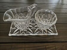 Creamer And Sugar Vintage Cut Glass With Underplate