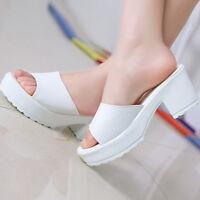 Good Ladies Wedges Flip Flop Sandals Women High Heel Leather Platform Shoes