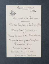 Menu 9 mars 1894 Comtesse DE BONVOULOIR DE VILLENEUVE DE VAULOGE noblesse