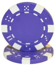 25 Purple Striped Dice 11.5g Clay Poker Chips New - Buy 2, Get 1 Free