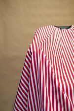 Red Stripes Haircut Cape Drape Barber Gown Stylist Hairdresser Handmade