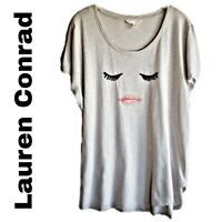 Lauren Conrad comfy and soft short sleeve light gray top with face size xlarge