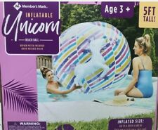 Member's Mark 5' Inflatable Unicorn Beach Ball 5 FT Pool Party Fun w/Patch Kit