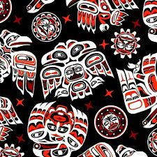 Fabric Native American Tribal Symbols Red Black on Black Cotton by the 1/4 yard