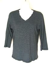 Talbots Knit Top S 3/4 Sleeves Black Blue Stripes Scallop V Neck Cotton Modal
