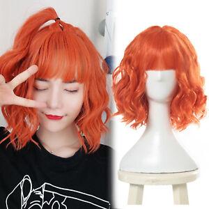 Harajuku Lolita Short Curly Wavy Orange Cosplay Wig Women Girls Bangs Party Wigs