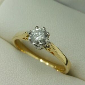 18ct Yellow Gold Brilliant Cut Diamond Solitaire Engagement Ring, Size K 1/2