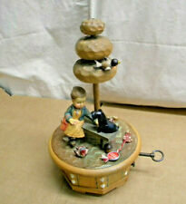 Vintage Anri Italy & Thorens Swiss Carved Wood Girl w/Dog on Bench Music Box