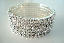 Six Row Small Stretchy Clear Diamante Bracelet Rhinestone *Please Check Size