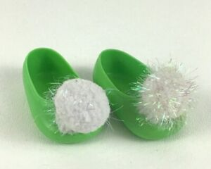 Disney Tinker Bell Animator Replacement Doll Shoes Green Pom Poms Slip On Flats