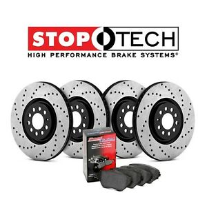 Stoptech 938.40504 Street Axle Pack Drilled /& Slotted Rear