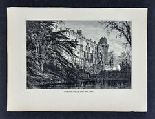 1878 Picturesque Europe Print  Warwick Castle from the West - England Britain UK
