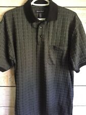 Denver Hayes Men's Charcoal Grey Blocked Casual Polo Rugby Shirt Size M