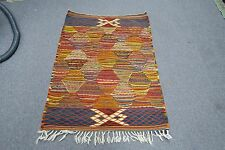 """Vintage Very Fine Hand woven wool European Kilim Rug Abstract Tapestry 30"""" x 40"""""""