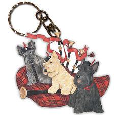 Scottish Terrier Wooden Dog Breed Keychain Key Ring