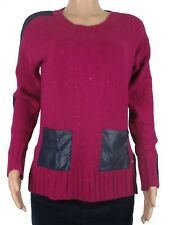 Tommy Hilfiger Womens Faux-Leather Pocket Tunic Sweater Wool Blend M Magenta