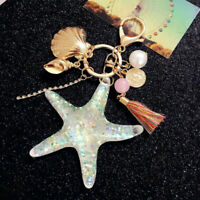 Cute Starfish Pearl Shell Keyring Pendant Purse Bag Key Chain Keychain Gift