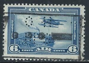 "Canada #OC6(12) PERFIN 1938 6 cent Monoplane ""O.H.M.S."" ""V"" for VICTORY Slogan"