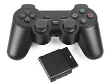Wireless 2.4GHz Black Vibration Fast Shock Game Controller Sony PS2 Quality Nice