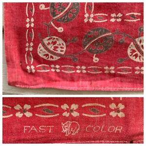 Oldest Bandanna We've Ever Seen! C1930 Turkey Red Fast Color Elephant Trunk Down
