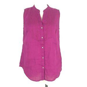 Charter Club Women's Size Small Fuchsia Purple Sleeveless 100% Linen Tank Top