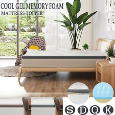 """Cool Gel Infused 3"""" 4"""" Memory Foam Mattress Topper W/Cover 7 Zone All Sizes Us"""